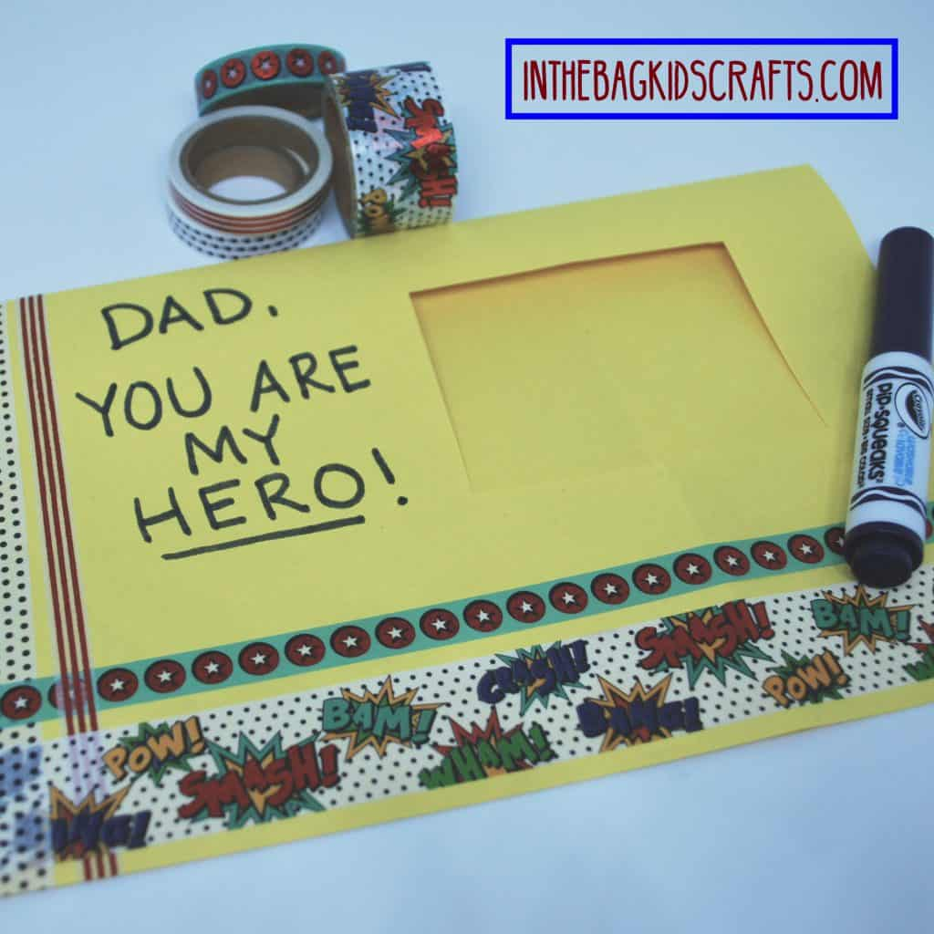 father's day easy kids' craft: super hero card step 6