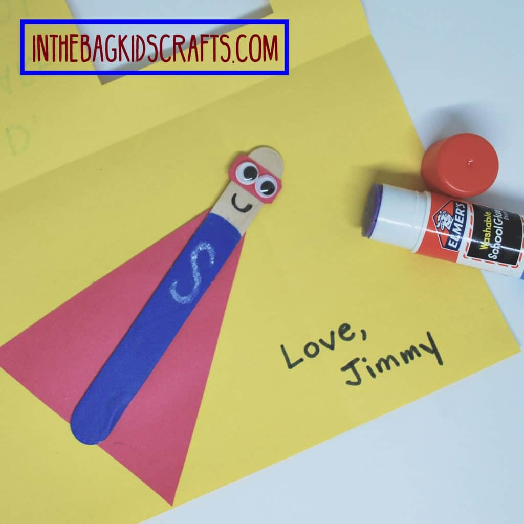 father's day easy kids' craft: super hero card step 7