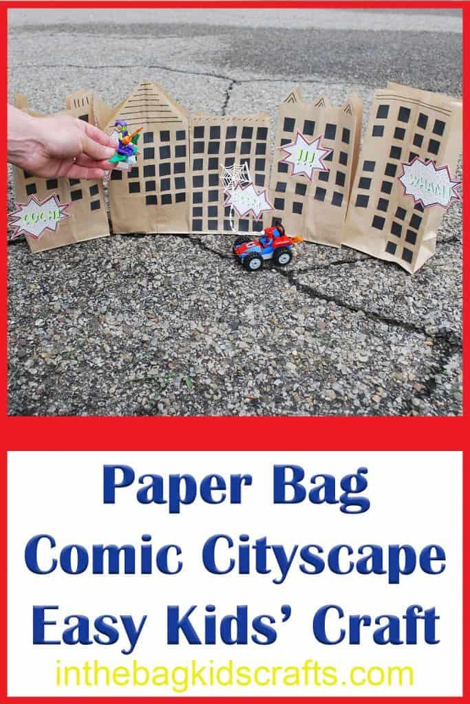 Comic Book Themed Paper Bag Cityscape