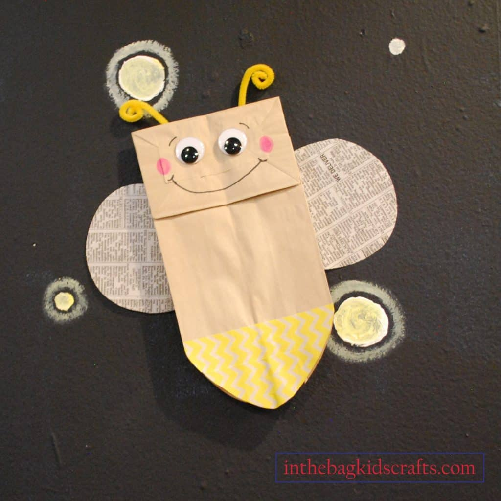EASY SUMMER CRAFTS FOR KIDS FIREFLY PAPER BAG PUPPET