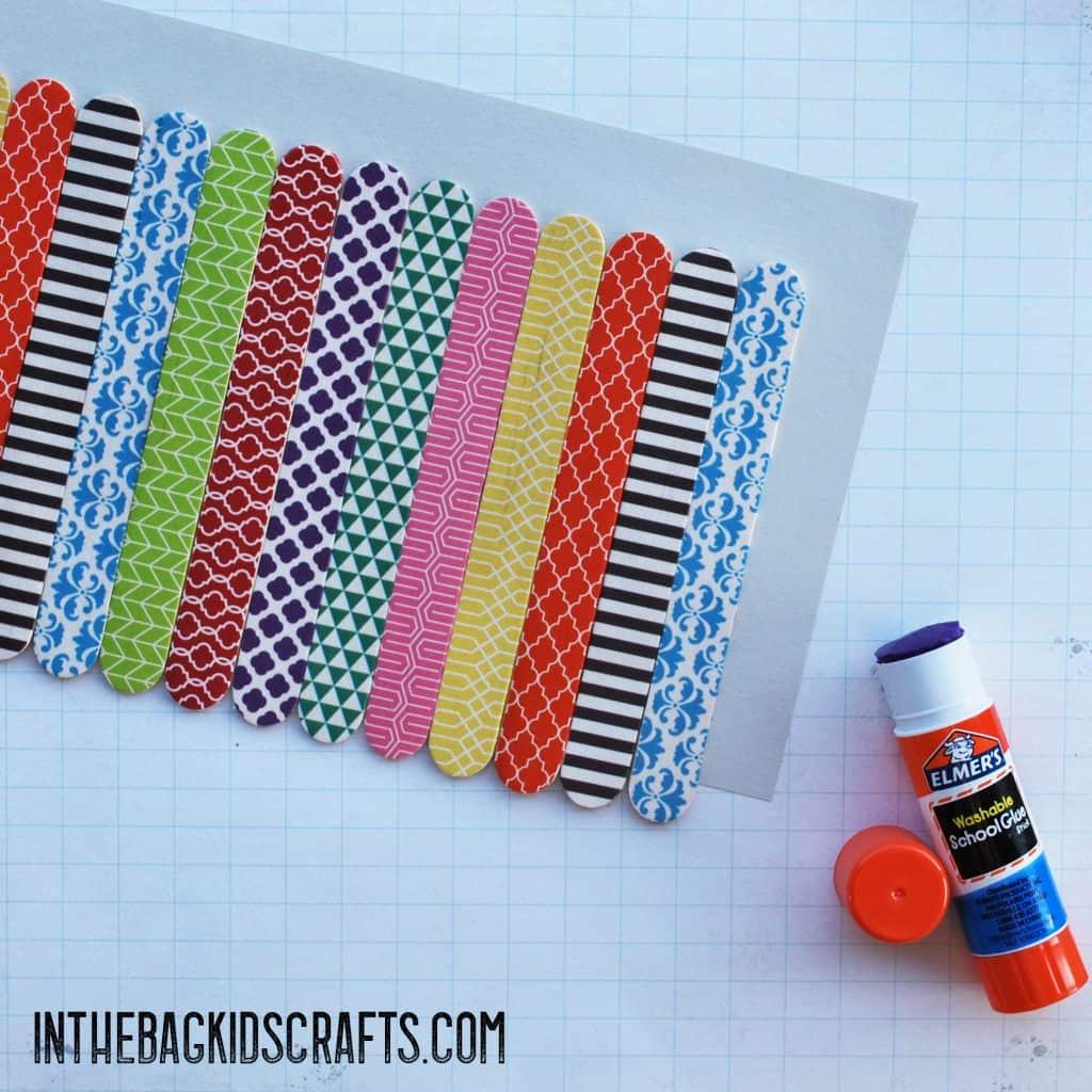 popsicle stick kids craft pencil holder step 3