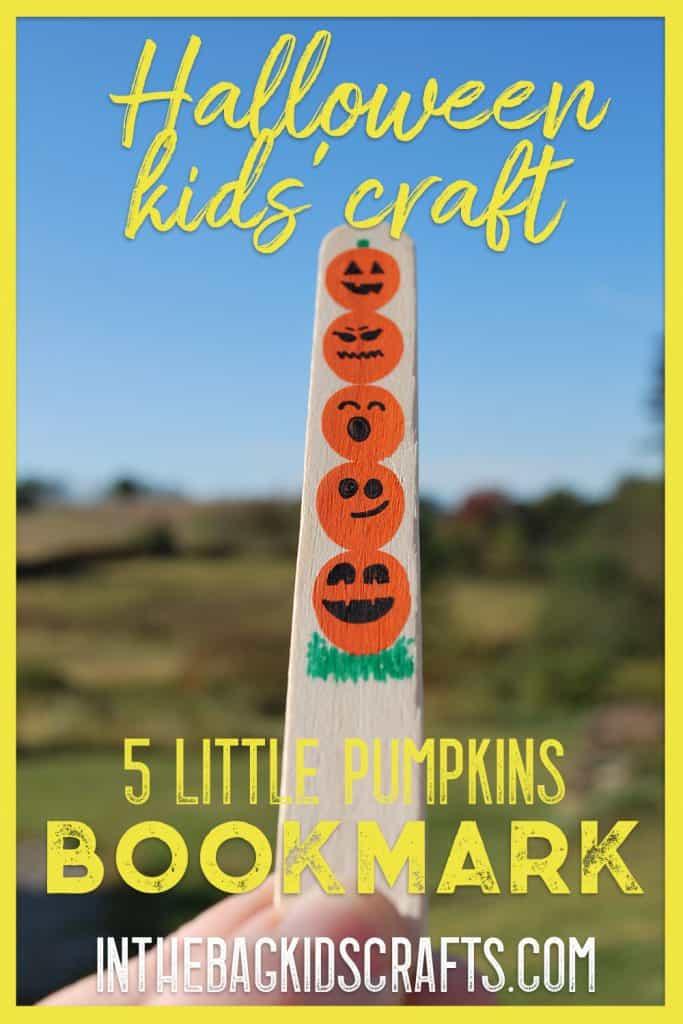 5 Little Pumpkins craft bookmark