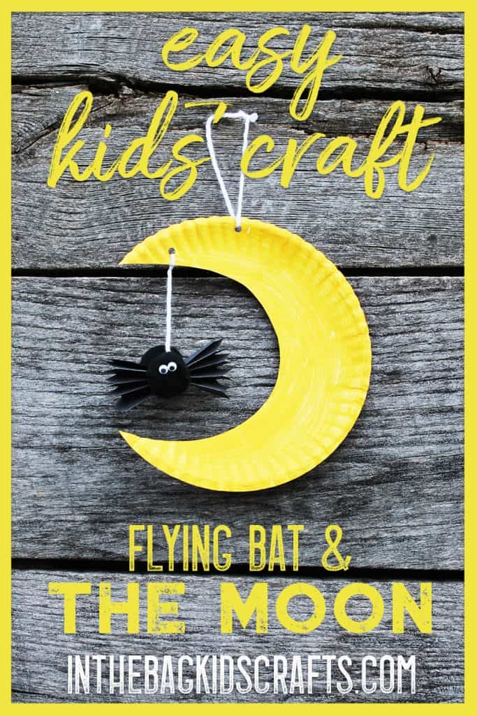 crescent moon and bat kids' craft